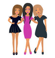 three young beautiful girlfriends stand together vector image