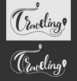 traveling lettering with trail and destination vector image vector image