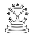 trophy cup with stars vector image vector image