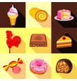 various candy elements icons set flat style vector image vector image