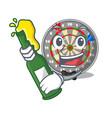 with beer cartoon dartcoard next to wooden table vector image vector image