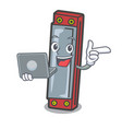 with laptop harmonica character cartoon style vector image