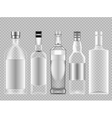 set of transparent glass vodka alcohol vector image