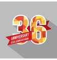 36th Years Anniversary Celebration Design vector image vector image