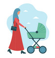 beautiful muslim woman with a baby in pram vector image