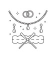 bridal jewelery and garter line art icon vector image