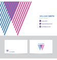 business card template with a letter w vector image vector image