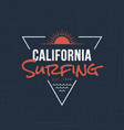 california sufing t-shirt and apparel design vector image vector image