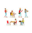 collection people sitting at tables drinking vector image vector image