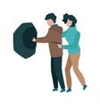 couple walking under vector image vector image