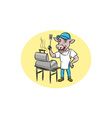 Cow Barbecue Chef Smoker Oval Cartoon vector image vector image
