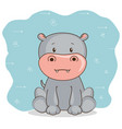 cute adorable hippo animal cartoon vector image vector image