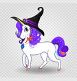 cute cartoon unicorn with purple hair in witch vector image vector image