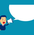 cute man shouting in megaphone concept business vector image vector image