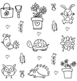 Doodle of spring collection hand draw vector image vector image
