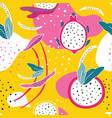 exotic colorful tropical fruits dragon fruit vector image vector image