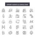 export agents line icons signs set vector image