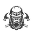 ferocious gorilla head in builder helmet vector image vector image
