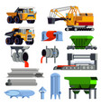flat steel production metallurgy icon set vector image vector image