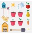 Flat style farm garden set vector image
