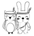 Grunge owl and rabbit animals with feathers design
