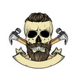 hand drawn sketch color skull vector image vector image