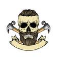 hand drawn sketch color skull vector image vector image