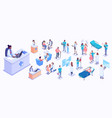 isometric medical workers vector image vector image