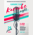 karaoke poster template with retro microphone vector image
