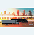 large semi truck with trailers highway road with vector image
