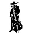 mariachi with double bass black template vector image vector image
