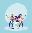 men singing and playing electric guitar vector image vector image