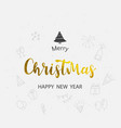merry christmas gold text font type composition vector image