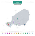niger map with location pointer marks infographic vector image vector image