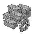 Piles of cash and coins icon in monochrome style vector image vector image