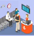 queuing system isometric composition vector image vector image