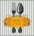 restaurant menu with fork spoon and yellow roses vector image vector image