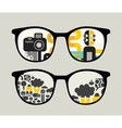 Retro sunglasses with abstract people reflection vector image vector image