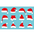 Santa Claus red hat set on blue vector image vector image