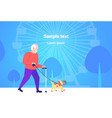 senior man walking with dog in muzzle best friend vector image