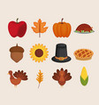set of thanksgiving holiday season vector image vector image