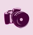 slr camera logo in pink tones on a light vector image