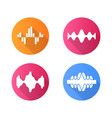 sound waves flat design long shadow glyph icons vector image vector image