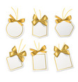 tags with gold bows blank white price vector image vector image