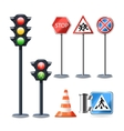 Traffic Sign And Lights Set vector image