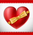 Valentine 3d heart with yellow bow vector image
