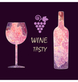 Wine tasting card infographic grape sign vector image vector image