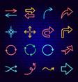 arrow signs neon icons vector image vector image