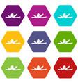 banana skin icon set color hexahedron vector image vector image