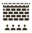 banned people behind fence icon glyph vector image vector image